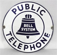"7"" Bell System Public Telephone Sign"