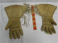 Beaded Animal Hide Gloves