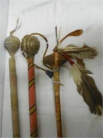 3 Native American Style War Clubs