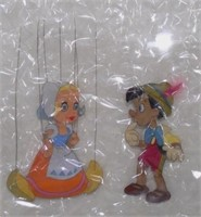 Pinocchio and Dutch Girl Puppet Hand Painted