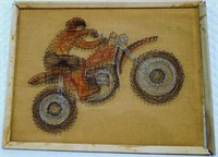 Motorcycle Rider Nail and Wire Art