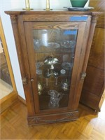 Wood Glass Cabinet with Light