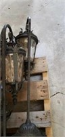 Lot of yard lights,  and a small pallet