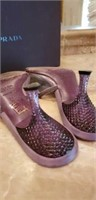 Prada made in Italy metallic PVC slide lilac 8 1/2