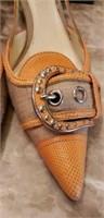 PRADA orange size 39 1/2 shoes with bag and box