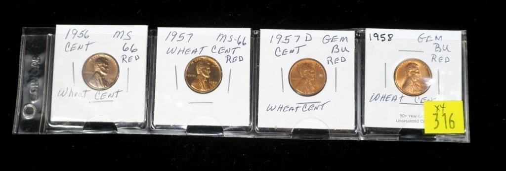 4- Uncirculated Lincoln cents: 1956-1958 | Hessney Auction Co  LTD
