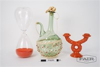 Lot of Decanter, Hourglass, and Candlestick