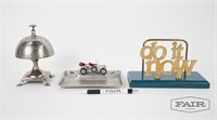 Lot of Letter Holder, Bell, and Car Tray