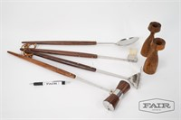 Teak Candle Holders and BBQ Set