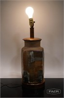 Pottery Lamp with Wood Base