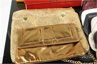Lot of 9 Vintage Purses and Wicker Display Hand