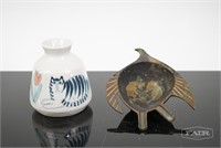 Solveig Cox Painted Vase and Metal Bird Dish