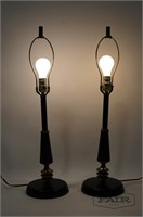 Pair of Metal and Brass Table Lamps