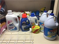 Shelf Full of Laundry & Cleaning Supplies, Towels