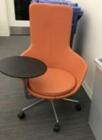 (2) Orange Leather Lounge Chair with Table