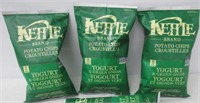 (3) Kettle Brand Potato Chips Yogurt & Green Onion