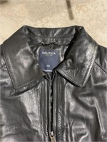 Nautica Men's XXL Lambskin Leather Bomber Jacket,