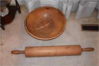 Early Dough Bowl & Rolling Pin