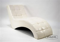Contemporary MCM Style White Chaise