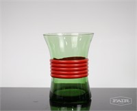 Green Glass Carafe and 6 Glasses