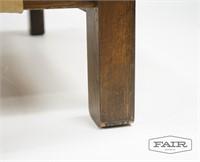 Tufted Beige Vinyl and Wood Settee