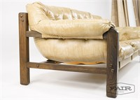 Tufted Beige Vinyl and Wood Sofa