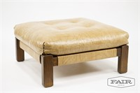 Tufted Beige Vinyl and Wood Ottoman