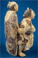 Antique Ivory Polychrome Erotic Embrace