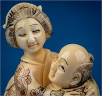 Antique Signed Ivory Polychrome Erotic Embrace