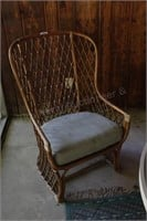 Wicker Chair with Green Cushion