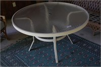 """48"""" Round Glass Metal Frame Table"""