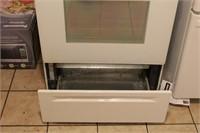 "Whirlpool White 30"" Oven, 4 Burner Glass top Stove"