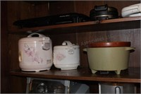 3pc Crock Pots, Large & Small Floral, Green