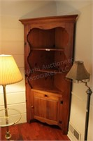 "34"" Cherry Corner Cabinet 3 Shelves and Cupboard"