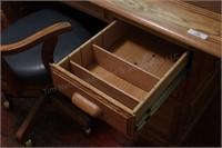 6' Oak Work Desk 7 Drawer,