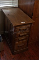 """Solid Oak 17"""" Side Table with 4 Drawers"""
