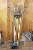 9pc Broom, Pickaxe, Ski Poles, Leaf Rake, etc