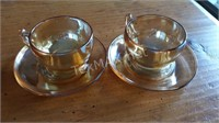 2 Iridescent Carnival Glass Cups and Saucers