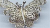 Vintage 925 Silver Filagree Butterfly Brooch