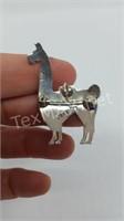 Enameled 950 Preuvian Silver Llama Brooch