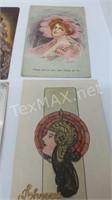 6 Vintage Glamour Lady Postcards