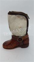 Leather and Calf Skin Boot Change Purse