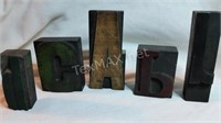 Collection of 9 Vintage Wooden Stamps