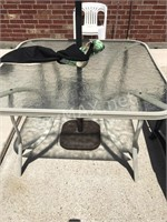 Hampton Bay Outdoor Table, Umbrella & Chair