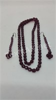 Purple Crystal Beaded Necklace and Earrings