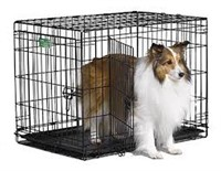 MIDWEST MEDIUM FOLDING DOUBLE DOOR DOG CRATE