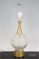 Textured Clear Glass and Brass Lamp