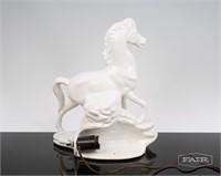 Ceramic White Horse TV Lamp