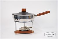 Vintage Chafing Dish with Wooden Handle
