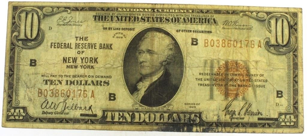 1929 New York $10 Federal Reserve Bank Note | Interstate